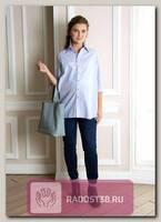 Рубашка для беременных Эмбер голубой, белый