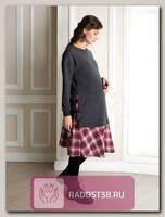 Платье для беременных Дэни серый/красная клетка