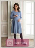 Платье для беременных и кормящих Мелисса серо-голубой