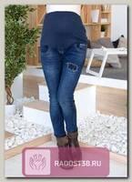 Джинсы узкие для беременных синий