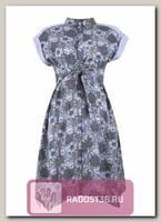 Платье рубашка с поясом для беременных серый