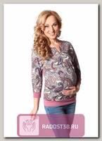 Пуловер для беременных розовый/молочный