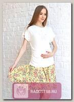 Юбка для беременных желтый/розовый