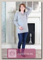 Джемпер Мелани с молниями для беременных серый