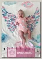 Муслиновая пеленка. Фотопеленка. Розовые крылья