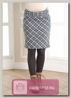 Юбка для беременных серая клетка