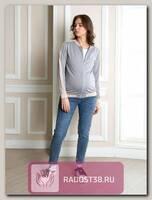 Джемпер для беременных Люкс серый/беж