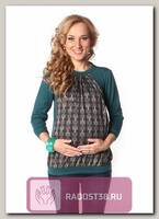 Блуза Рита для беременных икормящих зеленый узор