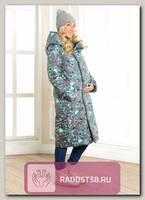 Пальто для беременных Мона орнамент на сером