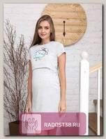 Сорочка для кормящих серый/бирюза