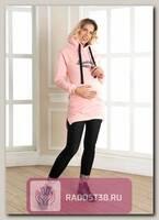 Туника худи для беременных розовый