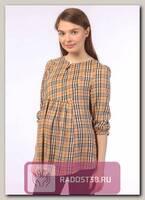Блуза рукава 03.апр для беременных бежевая клетка