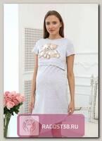 Сорочка для кормящих принтМедвежонок серый