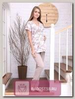 Пижама для кормления бежево_розовый